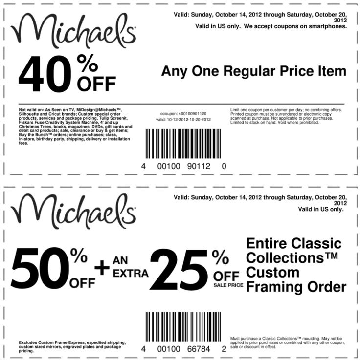 40 Off A Single Item At Michaels Crafts Coupon Via The Coupons App
