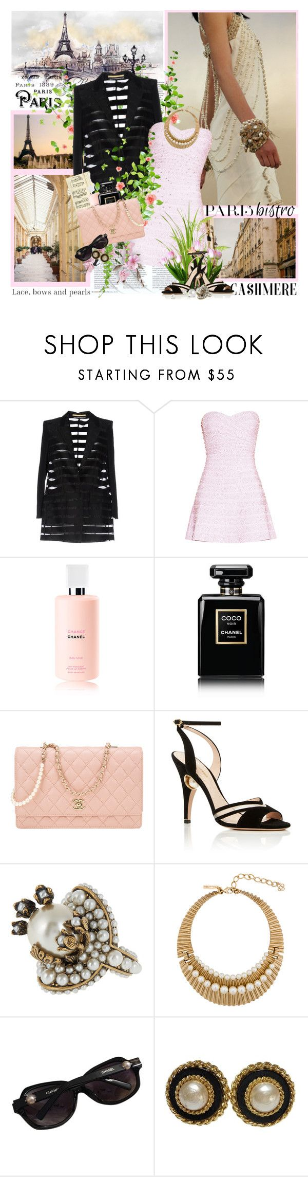 """"""",,April in Paris, chestnuts in blossom, holiday tables under the trees...."""""""" by purplecherryblossom ❤ liked on Polyvore featuring Chanel, New York Industrie, Hervé Léger, Nicholas Kirkwood, Gucci and Oscar de la Renta"""