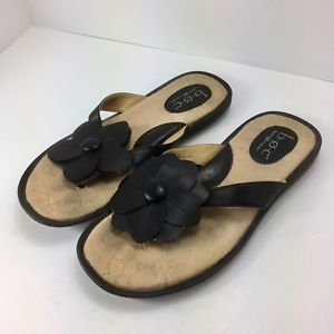 9a65195fd2b6 BOC Born Concept Womens Black Flower Flip Flop Thong Sandals Size 8 Eu 39