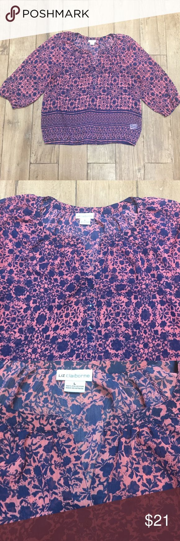 Liz Claiborne Boho Top Liz Claiborne Boho top❤️ In great condition❤️ Size Large❤️ Perfect for spring and summer🌺🌺🌺 Liz Claiborne Tops Blouses