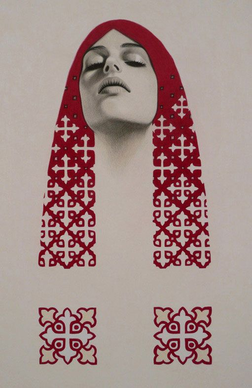 Priestess / pencil and pen on paper /Pamela Tait in collaboration with Erlend Tait