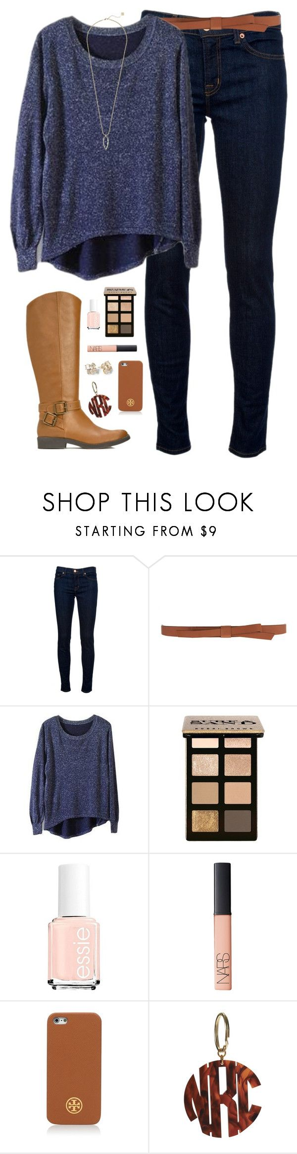 """not so cold winter day"" by classically-preppy ❤ liked on Polyvore featuring J Brand, Ganni, Bobbi Brown Cosmetics, Essie, NARS Cosmetics, Kate Spade, Tory Burch and Kendra Scott"