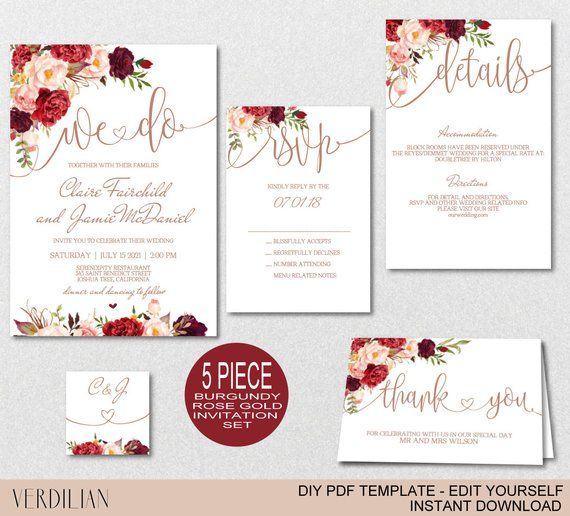 Diy Rose Gold We Do Wedding Invitation Template Burgundy Floral