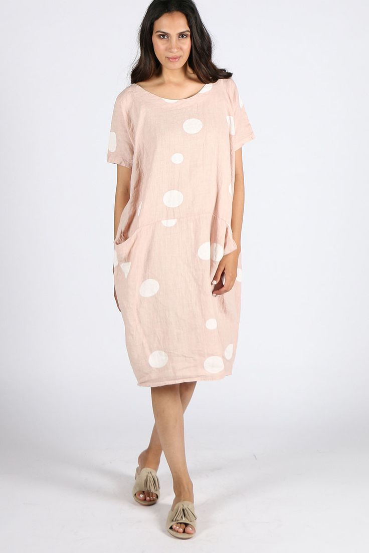 Talia Benson - Spotted Linen Dress By Talia Benson In Rose