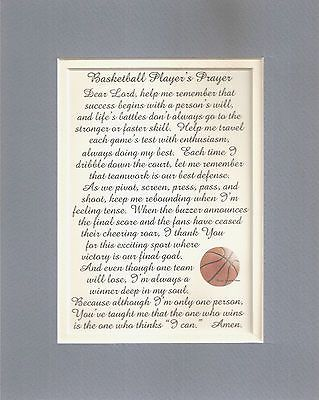 Hoops BASKETBALL PLAYERS Prayers Dribble Court SPORTS Score verses poems plaques