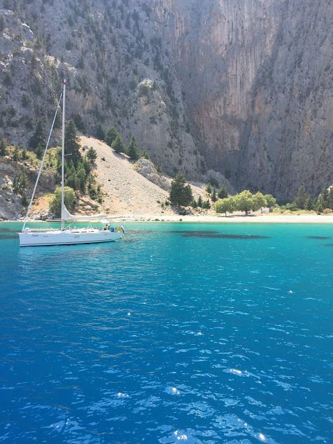 The stunning Kayadibi Beach on Symi island, Greece.  Can you believe how blue and clear the water is?  Click or visit fabeveryday.com to see more photos and a review of my active yacht cruise to Turkey and Greece on Mediterranean Delights Fitness Voyage.