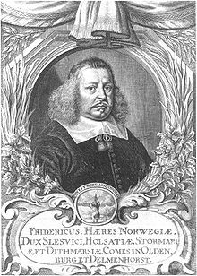 Frederick III of Holstein-Gottorp, lived 1597 –1659), a Duke of Holstein-Gottorp.  Elder son of Duke Johann Adolf of Holstein-Gottorp and Augusta of Denmark, a daughter of King Frederick II of Denmark. Married Duchess Marie Elisabeth of Saxony. A maternal 2X great-grandfather of Catherine the Great.: King Frederick, Married Duchess, Johannes Adolf, Duchess Mary, 1597 1659, Living 1597, Elder Sons, Frederick Iii, Dukes Johannes