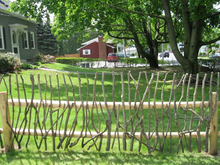 Rustic Garden Fence Ideas | Rustic Stick Fence (on Post And Rail)