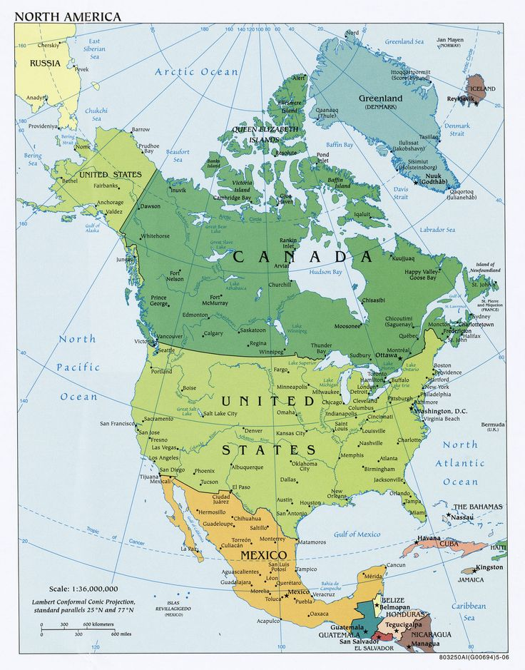 29 best amérique du nord images on Pinterest North america, Maps - best of world map with countries and continents