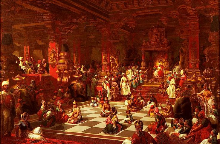 Henri-Pierre Picou's 1876 painting, Jeu d'Echecs Indien, depicts a human chess game in India.