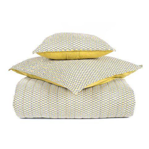 Boutis jeté de lit réversible coton imprimé Timiki Harmony - Jaune- Vue 1