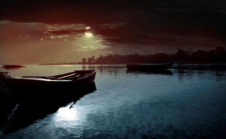 #barche, #fiume, #luna, #nuvole, #paesaggio, #notte, #natura, #acqua, #cielo