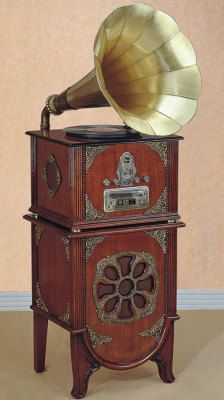 Victorian Trading Co. Gramophone Entertainment Center. Plays vinyl records, CD & radio.