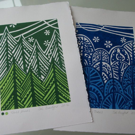 Tall pines and Curvy trees lino prints by Zebedeeprint on Etsy,