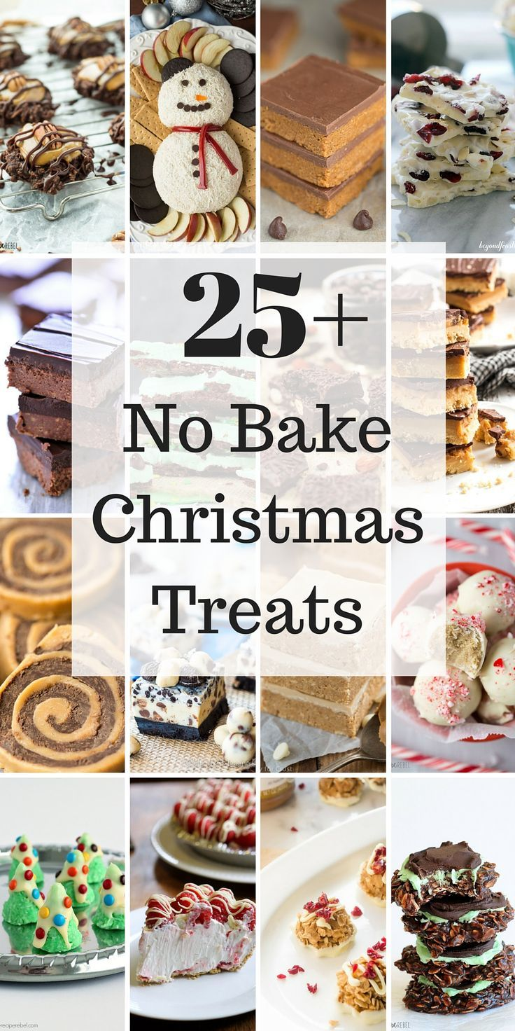 21 No Bake Treats for Christmas including cookies, bars, candies and desserts -- because sometimes you just don't have time to bake! Easy recipes for everyone.