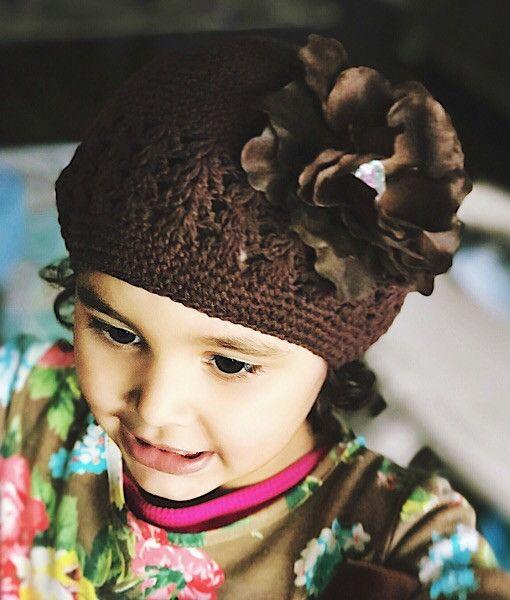 Brown flower brown crotchet hat , toddler beanie baby girl hat