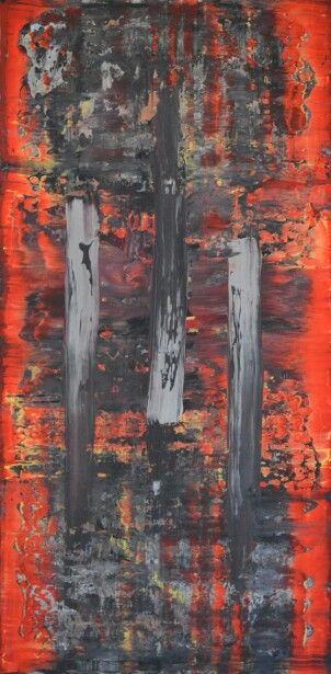 Abstract art by Robert Martin Abstracts. Forgotten 24X48X1.5in. In acrylic on canvas. Year 2016