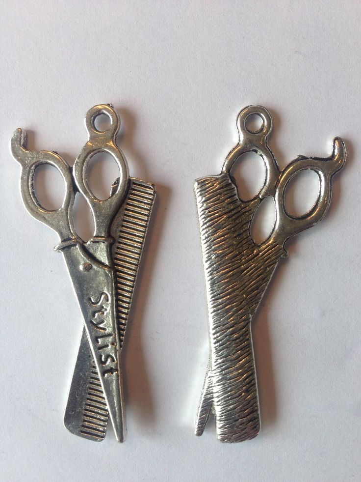 Scissor and comb Charms, Silver, for jewellery making by FionasHobbyHut on Etsy
