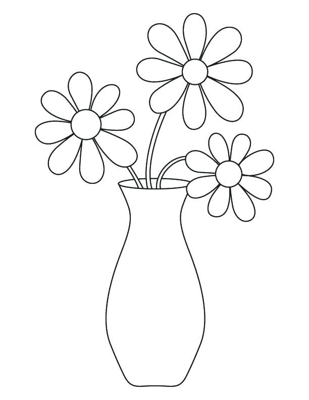Flower Vase Coloring Page Vase With Flowers Coloring Page Drawn