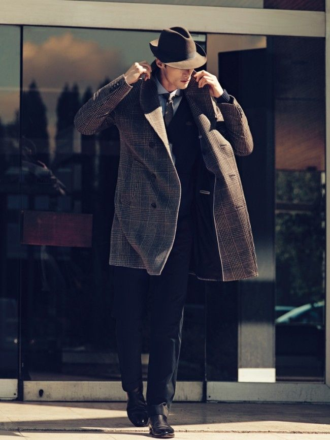 Now that is how you dress for cooler weather! Bravo.: Hats, Men Clothing, Men Style, Men Fashion, Men'S Fashion, Suits, Mad Men, Trench Coats, Men Fall Fashion