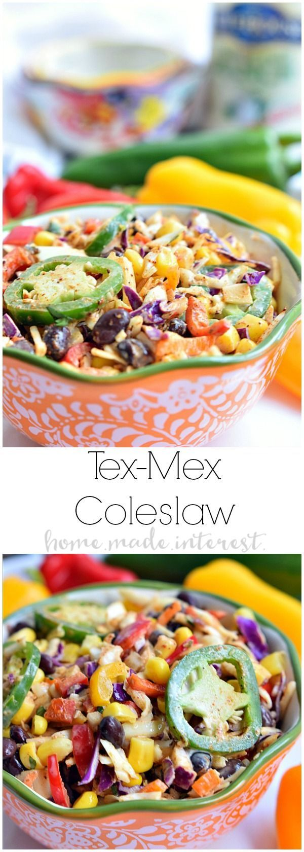 Spice up the usual coleslaw recipe with a little Tex-Mex flavor! This southwest inspired coleslaw has all of the Tex-Mex flavors you love, chili, cumin, black beans, corn, and don't forget the ranch dressing! Make this Tex-Mex coleslaw as an easy summer side dish that is perfect for cook outs, BBQs, and potlucks.
