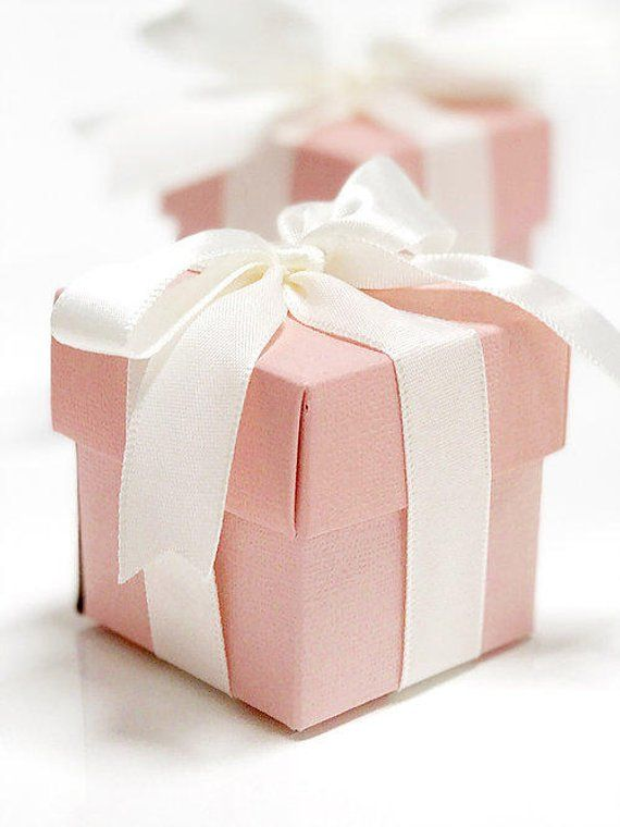 25x blush pink square favor box with ribbon 2x2 inches pink