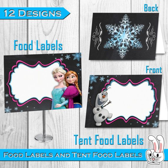Disney Frozen Food Labels and Tent Food Labels by FunnyBunnyStore
