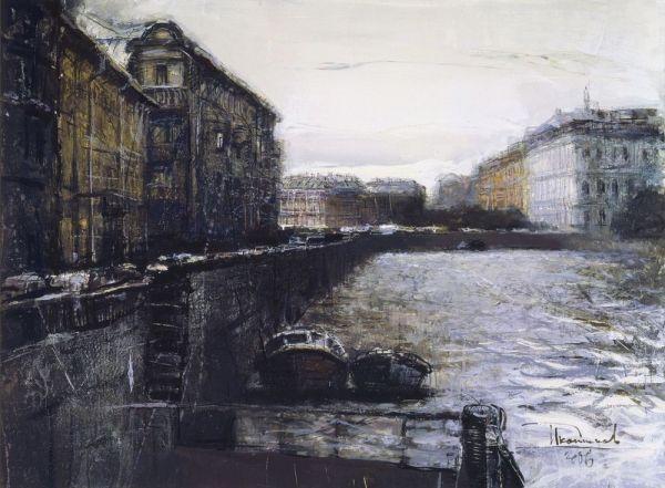 Peintures de l'artiste Dmitry Ikonnikov Peintures. Saint Petersburg_Вид на Синий мост. Бумага, авторская техника. 2006