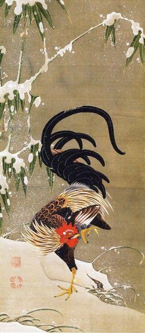 若冲「雪中雄鶏図」 もっと見る