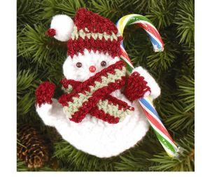 Top 10 Free Christmas Crochet Patterns on AllFreeCrochet: Snowman Candy Holder