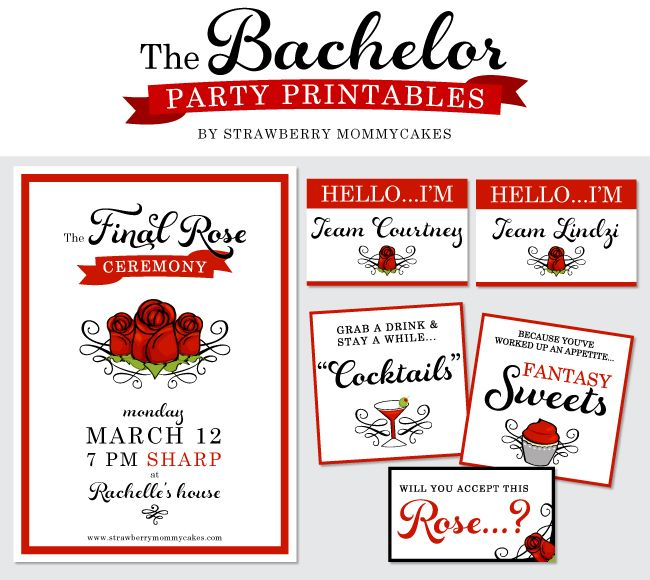 FREE printables for your ABC's The Bachelor finale party!
