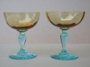 Deux COUPES verre à CHAMPAGNE GEORGE SAND ambre pied bleu Legras  | eBay