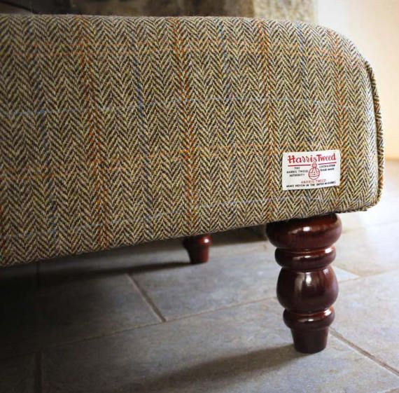 Skye Harris Tweed Large Footstool In Bracken A Classic Cream And