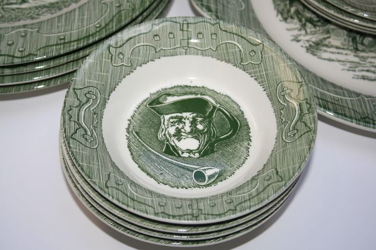 "Four 4 Vintage ""The Old Curiosity Shop"" Green Transferware Small Bowls Royal China Sebring Ohio Old Man Face by AstridsPastTimes on Etsy"