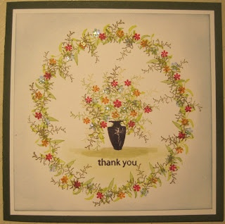 Thank You, handstamped card with stamps from Rubber Stamp Tapestry, made by Dianne ten Hove