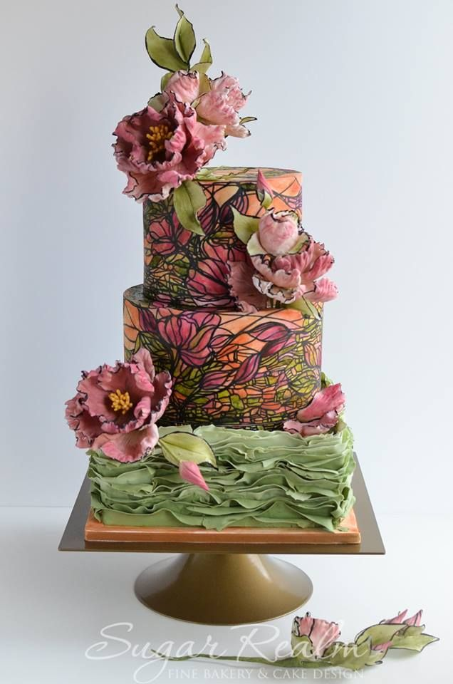 Kicking off the wedding season with a Stained Glass Wedding Cake!