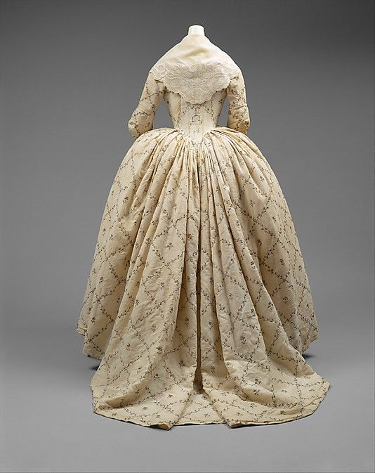 Robe à l'Anglaise  Date:     1784–87 Culture:     French Medium:     cotton, metal, silk