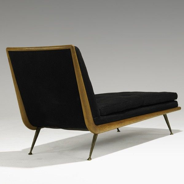 T h robsjohn gibbings mahogany and brass chaise for 1950s chaise lounge