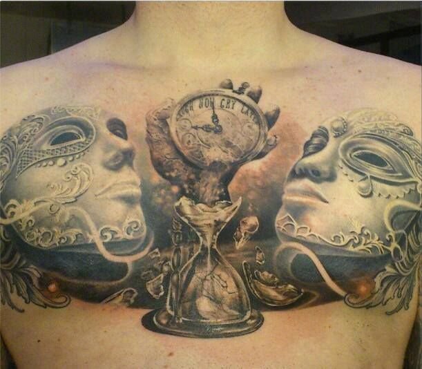 Amazing Work: Sugar Skull And Clock Tattoo On Chest...holy Crap This Is