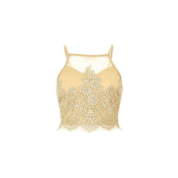 Transparentes Spitzen-Crop-Top in Gold ❤ liked on Polyvore featuring tops, gold camisole top, cami crop top, beige crop top, gold camisole and gold cami top