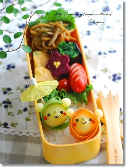 Mashed Potatoe Hooded Bears Kyaraben Bento by Teshipan