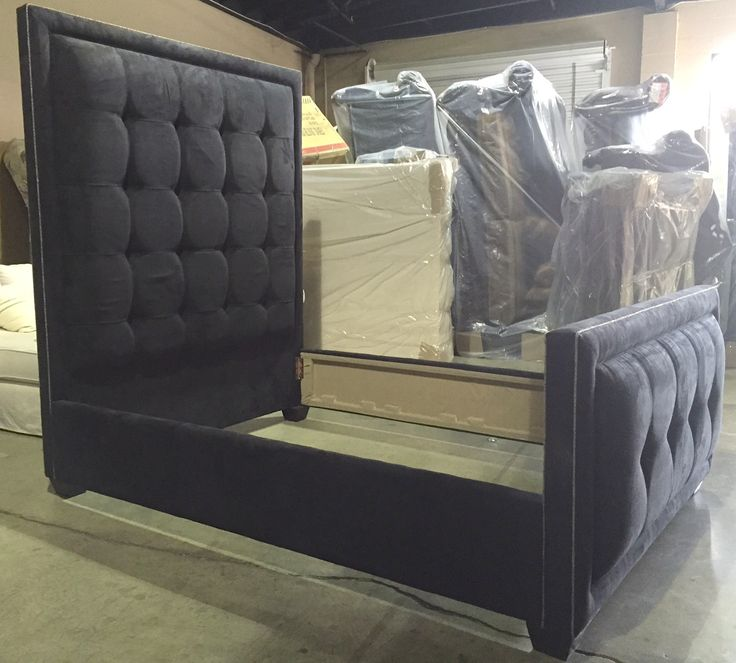 "78"" tufted upholstered black ultra suede bed with footboard ..."