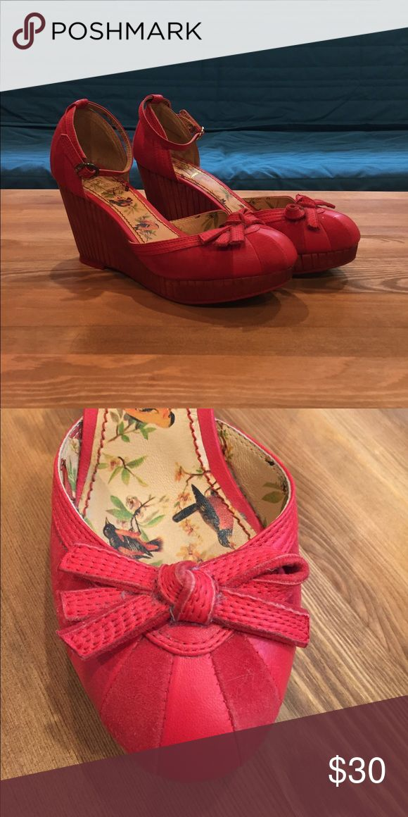 Shoes Red wedge shoes Anthropologie Shoes Wedges