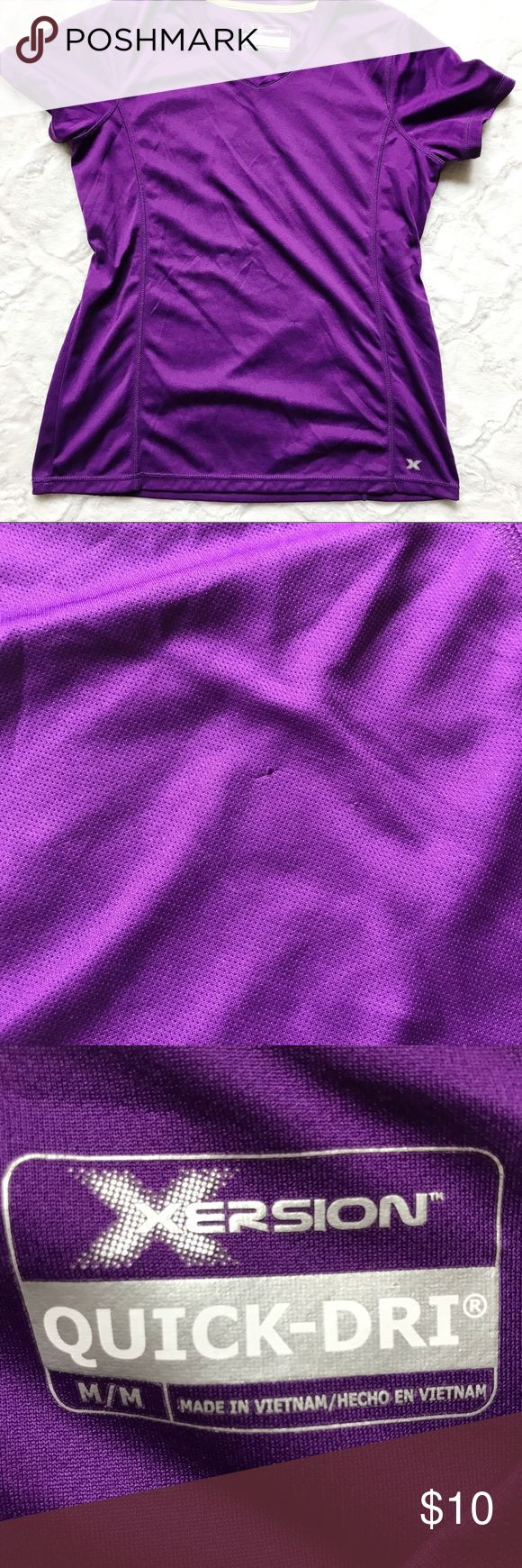 Xersion quick dry short sleeve top Short sleeve purple top from Xersion. Great purple color in excellent condition. One small pull on front as shown in pictures. Size M Xersion Tops