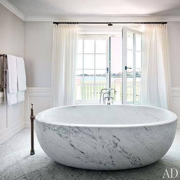 Marble Bathtub, Transitional, bathroom, Architectural Digest