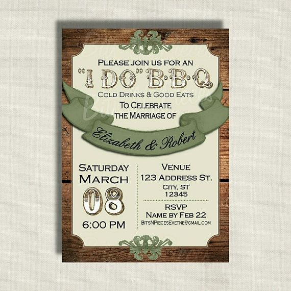 I Do Barbeque Invitation. Wedding Invitation. Camo Wedding. BBQ Barn Rustic  By BitsnPiecesEvents