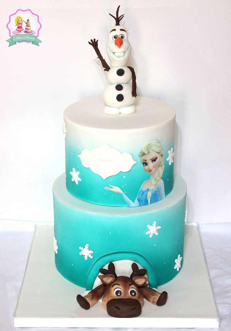 Gateau reine des neiges - Gateau Olaf - Frozen fondant cake - l'atelier de roxane - roxane le meilleur pâtissier