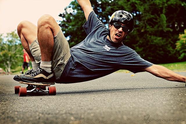 Amazing on a skateboard, or making falling look like it.