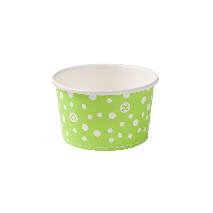Grüner Eisbecher aus Pappe mit Biobeschichtung 125ml
