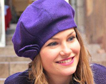 Dames stof baret hoed. Chevron stof hoed. Wollen door delisaboutique